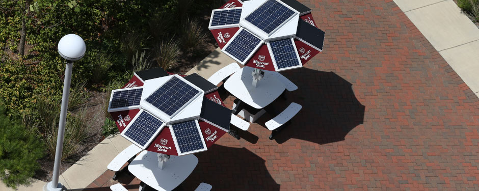 Go green and stay fully charged by using the solar picnic tables near the Bear's Den.