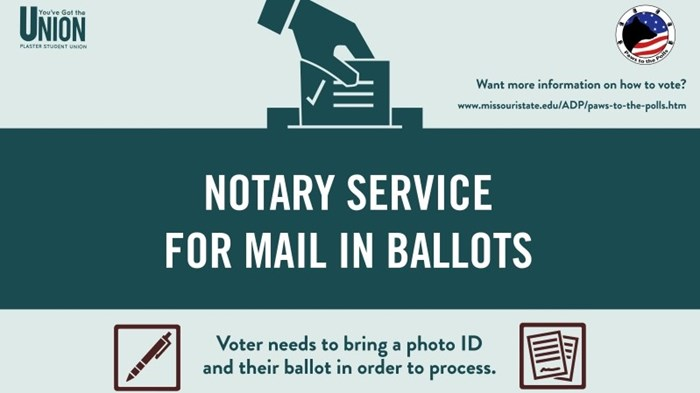 Notary service for mail-in, absentee ballots