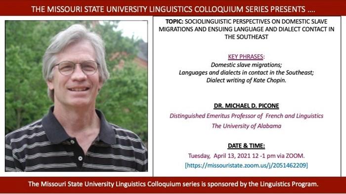 Linguistics Colloquium Talk by Dr. Michael D. Picone