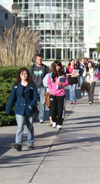 Students walking between classes