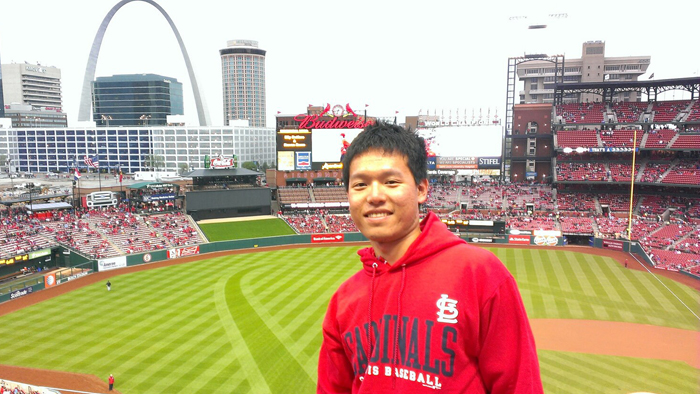 Nick Chen watching the St. Louis Cardinals play