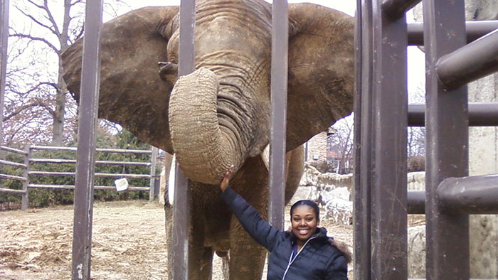 T-Asia Mays with an elephant