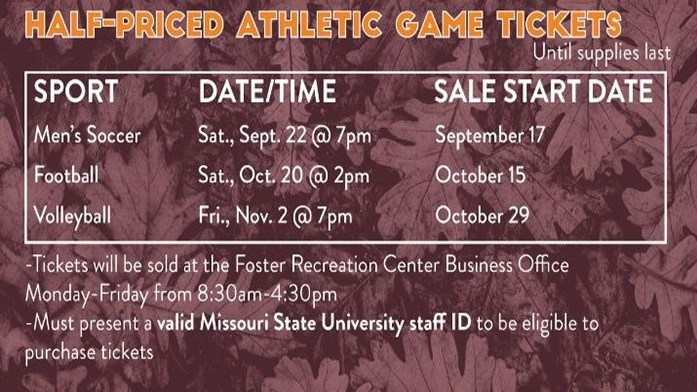 Half Price Men's Soccer Ticket Sale - MSU Staff only