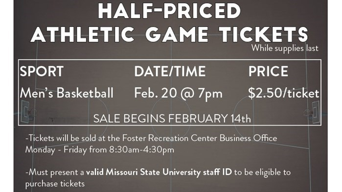 Staff Senate - 1/2 Price Men's Basketball Ticket Sale