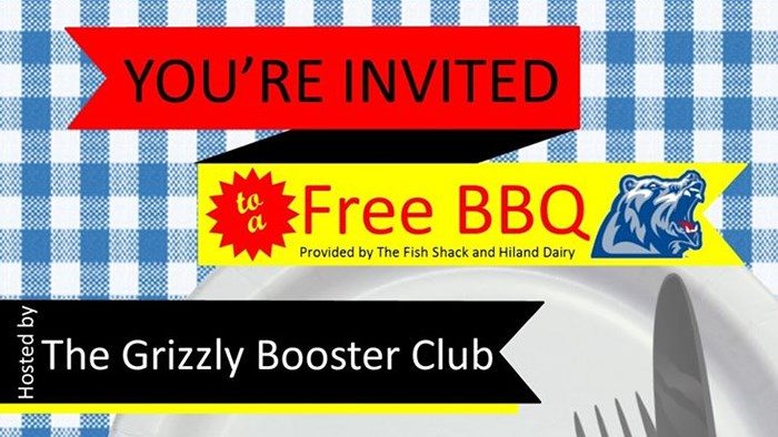 Grizzly Booster Club BBQ: September 1, 5 PM