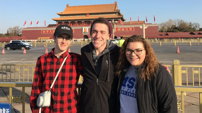 3 students spending the spring semester in China